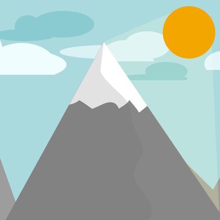 moutain: Flat design illustration mountains nature and sun