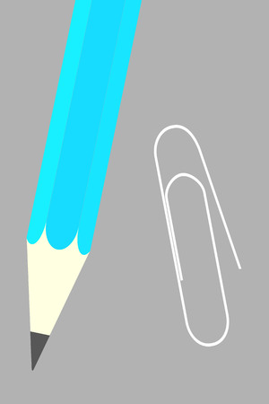 Vector illustration of a paper clip and pen