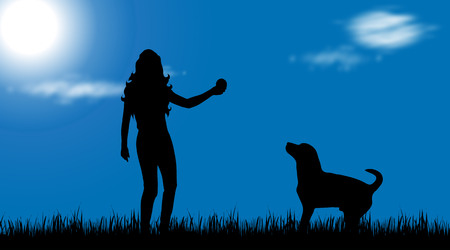 Vector silhouette of woman with dog in nature. Illustration