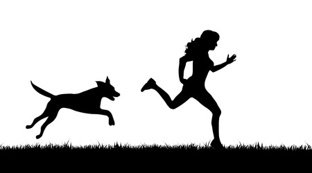 Vector silhouette of girl who run with dog on white background.