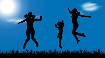 Vector silhouette of children who jump in nature.