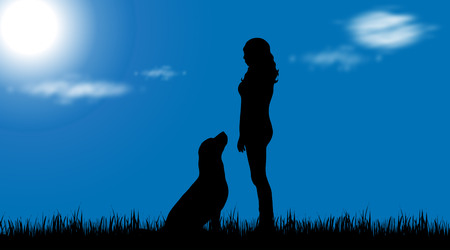 labrador: Vector silhouette of woman with dog in nature. Illustration