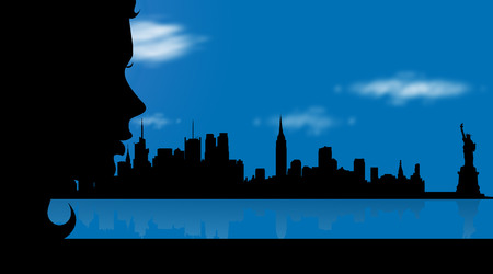 Vector illustration of New York with woman.