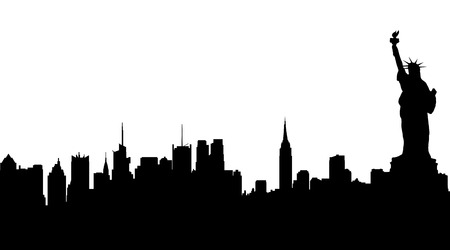 Vector silhouette of New York on white background.