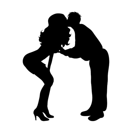 Vector silhouette of couple on white background. Иллюстрация