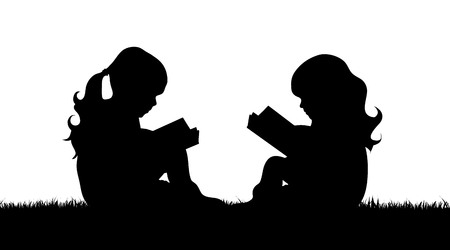 Vector silhouette of girls who read book in grass.