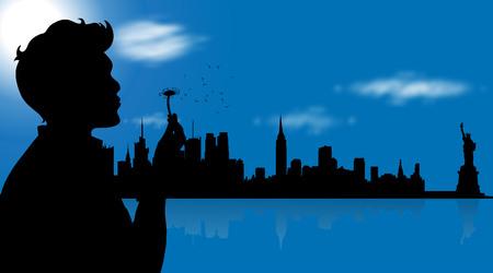 Illustration vectorielle de New York avec l'homme. Banque d'images - 78794984