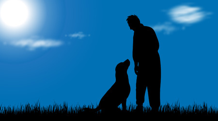 labrador: Vector silhouette of man with dog in nature. Illustration