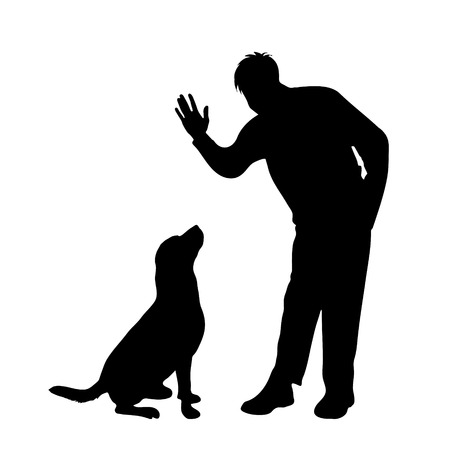 labrador: Vector silhouette of man with dog on white background.