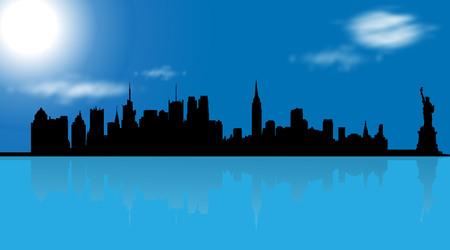 Vector illustration of New York on blue background. Illustration