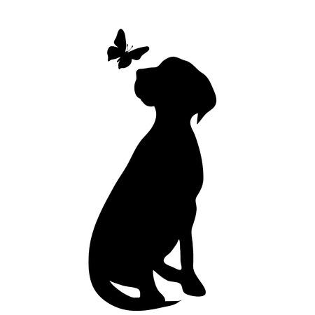 Vector silhouet van hond met vlinder op witte achtergrond.