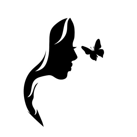 Vector silhouette of woman with butterfly.