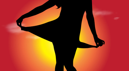 Vector silhouette of girl who dance at sunset. Illustration