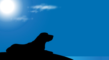 A Vector silhouette of dog on the beach at sunny day.
