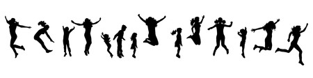 A Vector silhouette of people who jump on white background. Illustration