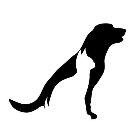 A Vector silhouette of dog and cat logo on white background.