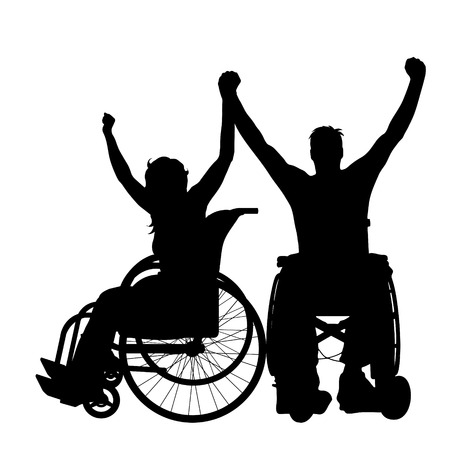 Vector silhouette of couple on wheelchair on white background.