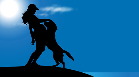 A Vector silhouette of woman with dog on the beach at sunny day. Illustration