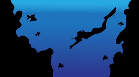 Un illustrazione vettoriale del mondo sotto acqua con subacqueo e pesce. Archivio Fotografico - 80440900
