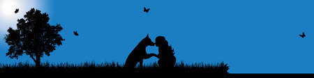 child care: A Vector silhouette of girl with dog in nature at sunny day.