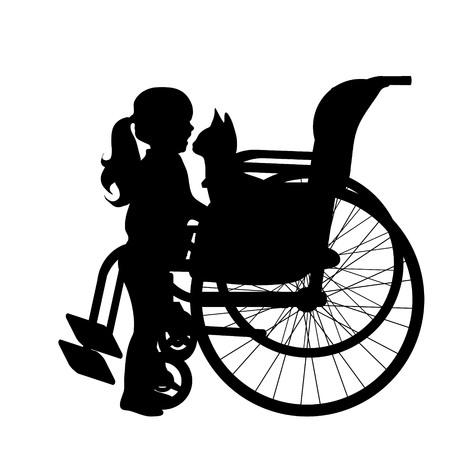 白い背景に車椅子の子のベクトル シルエット。 写真素材 - 80440939