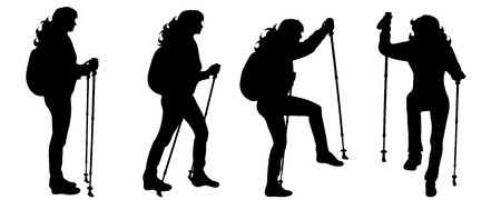 Vector silhouette of woman who walk with nordic walking on white background.