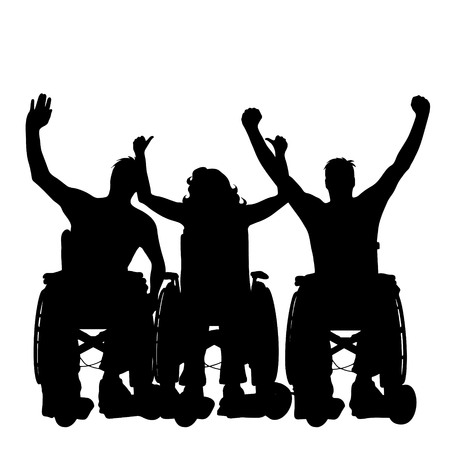 Vector silhouette of people on wheelchair on white background.