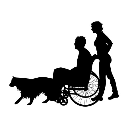 Vector silhouette of family with man on wheelchair on white background. Illustration