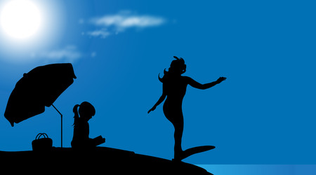 woman in bath: Vector silhouette of family on the beach at sunny day.