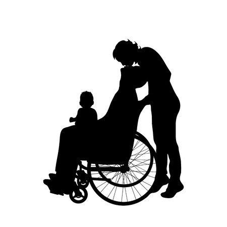 baby and mother: Vector silhouette of family with man on wheelchair on white background. Illustration