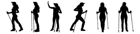 Vector silhouet van vrouw die met een nordic walking op een witte achtergrond loopt.