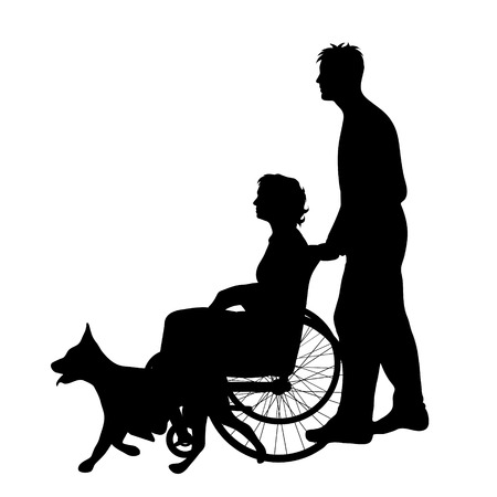 A Vector silhouette of family with woman on wheelchair on white background. Illustration