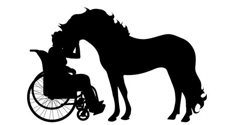 A Vector silhouette of woman on wheelchair with horse on white background.