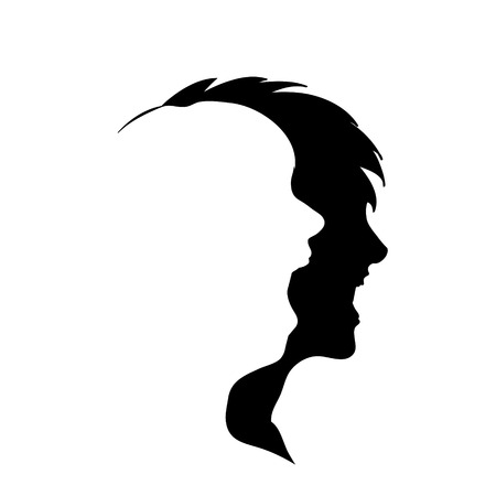 A Vector silhouette of woman on white background.
