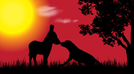 Vector silhouette of dog with donkey in nature at sunset.