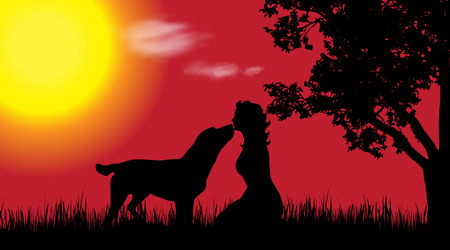 Vector silhouette of woman with dog in nature at sunset.