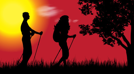 Vector silhouette of couple in nature at sunset.