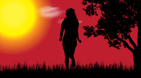 Vector silhouette of woman in nature at sunset. Illustration