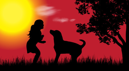 nice girls: Vector silhouette of girl with dog in nature at sunset.