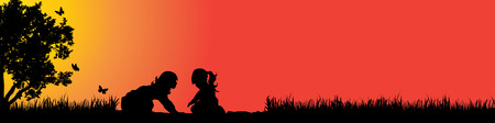 Vector silhouette of children in nature at sunset.