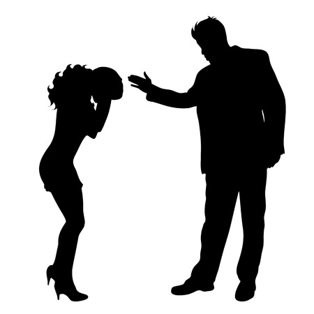 Vector silhouette of couple on white background. Ilustrace