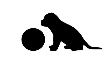 Vectorsilhouet van hond met bal op witte achtergrond.