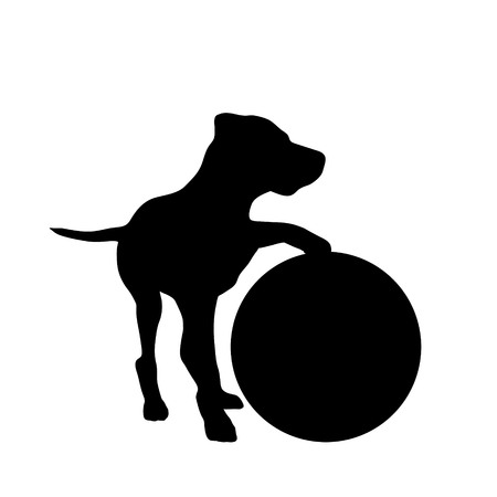 Vector silhouette of dog with ball on white background. Illustration