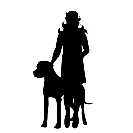 Vector silhouette of woman with dog in white background. Иллюстрация