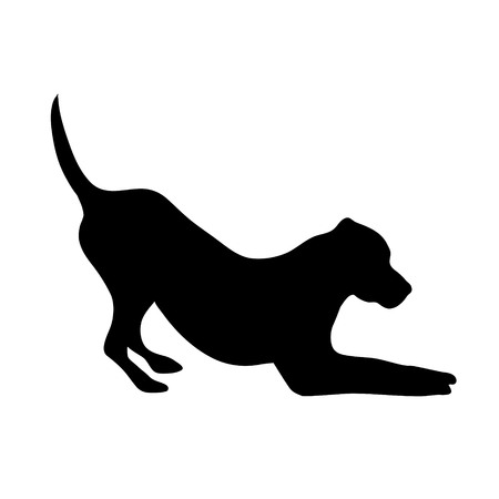 Vector silhouette of dog on white background. Illustration