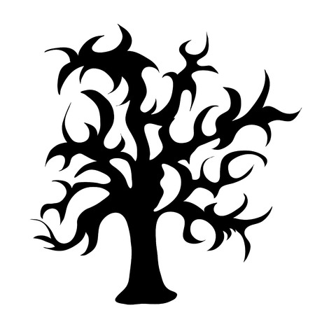 Vector silhouette of tree on white background. Ilustrace