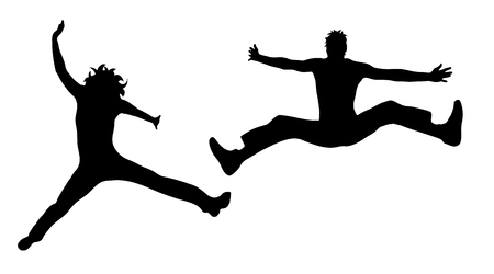 A vector silhouette of people who jump on white background.
