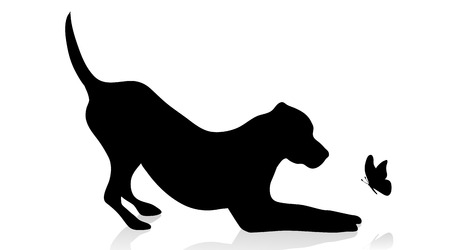 A vector silhouette of dog with butterfly on white background.