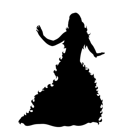 Vector silhouette of woman with long dress on white background.