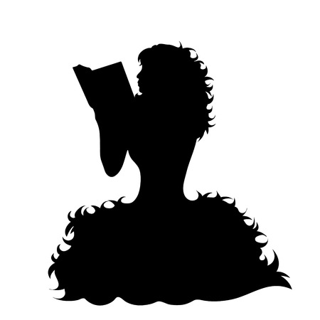 Vector silhouette of woman who read book on white background.